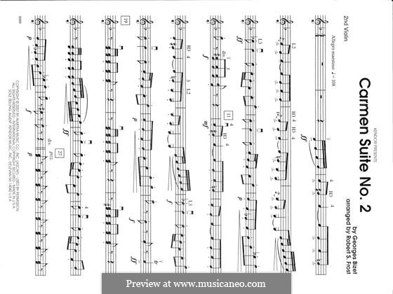 Zweite Suite: Chanson Du Toreador, La Garde Montante - 2nd Violin part by Georges Bizet