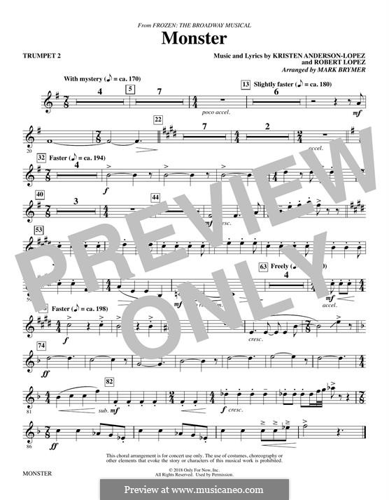 Monster (from Frozen: The Broadway Musical): Trumpet 2 part by Robert Lopez, Kristen Anderson-Lopez