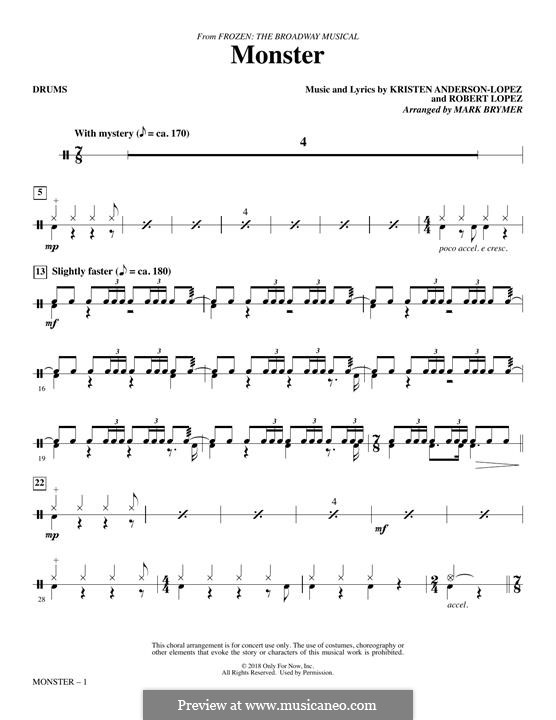 Monster (from Frozen: The Broadway Musical): Drums part by Robert Lopez, Kristen Anderson-Lopez