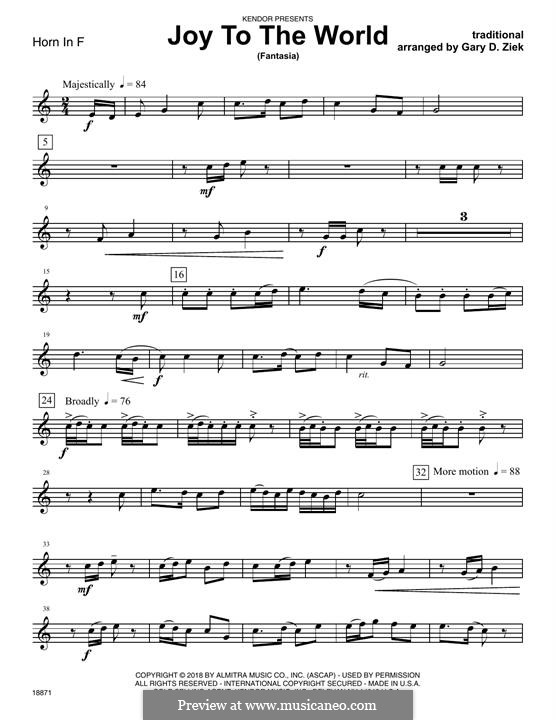 Joy to the World (fantasia): Horn in F part by folklore