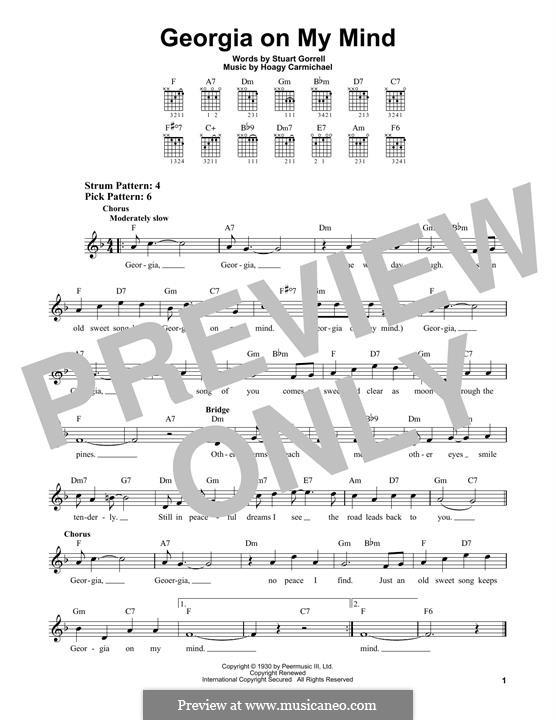 Georgia on My Mind: Für Gitarre by Hoagy Carmichael