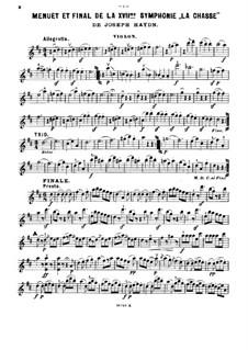 Sinfonie Nr.73 in D-Dur 'Jagd', Hob.I/73: Teile III-IV, für Violine, Cello und Klavier – Violinstimme by Joseph Haydn