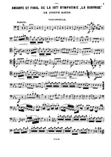 Sinfonie Nr.94 in G-Dur 'Überraschung', Hob.I/94: Teile II, IV, für Violine, Cello und Klavier – Cellostimme by Joseph Haydn