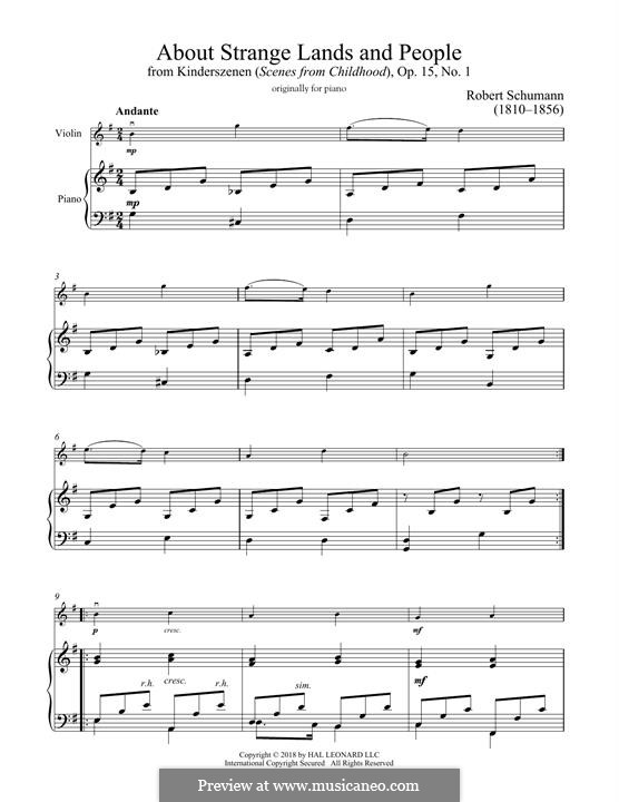 Nr.1 Von fremden Ländern und Menschen: Für Violine und Klavier by Robert Schumann
