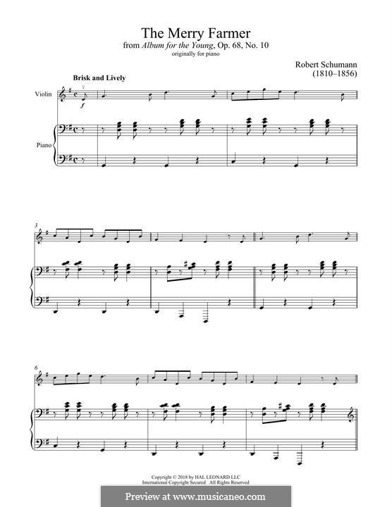 Nr.10 Fröhlicher Landmann: Für Violine und Klavier by Robert Schumann