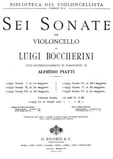 Sonate für Cello und Basso Continuo in A-Dur, G.4: Version für Cello und Klavier by Luigi Boccherini