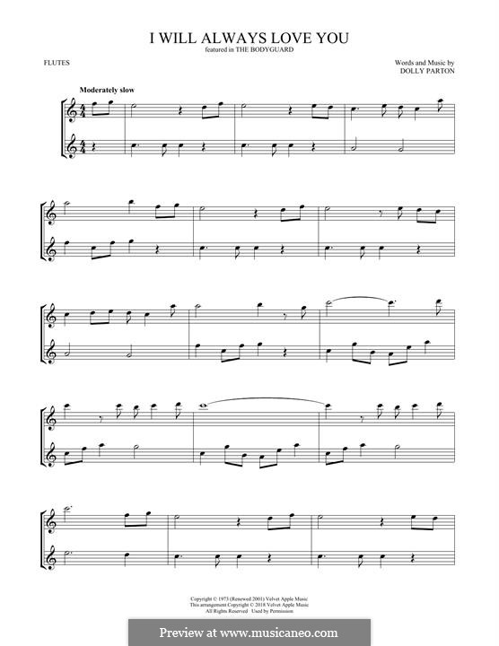 I Will Always Love You (Whitney Houston) instrumental version: Für zwei Flöten by Dolly Parton