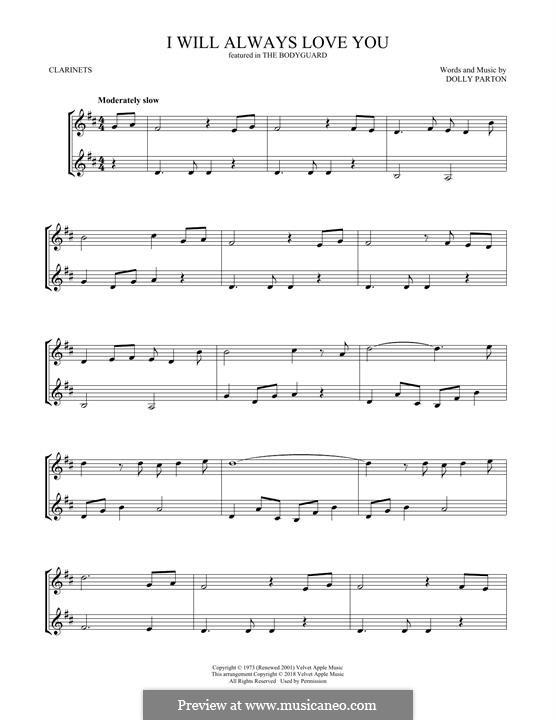I Will Always Love You (Whitney Houston) instrumental version: Für zwei Klarinetten by Dolly Parton