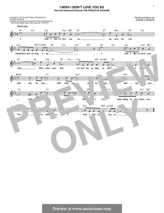 I Wish I Didn't Love You So: Für Keyboard by Frank Loesser