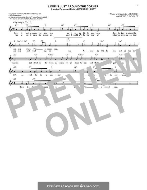 Love Is Just Around the Corner (Coleman Hawkins): Für Keyboard by Leo Robin, Lewis E. Gensler