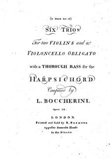 Sechs Streichtrios, Op.6: Basso Continuo Stimmen, G.89-96 by Luigi Boccherini