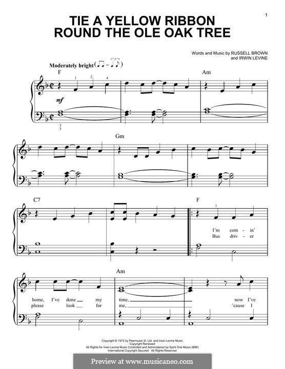 Tie a Yellow Ribbon Round the Ole Oak Tree (Tony Orlando): Für Klavier, leicht by Irwin Levine, L. Russell Brown