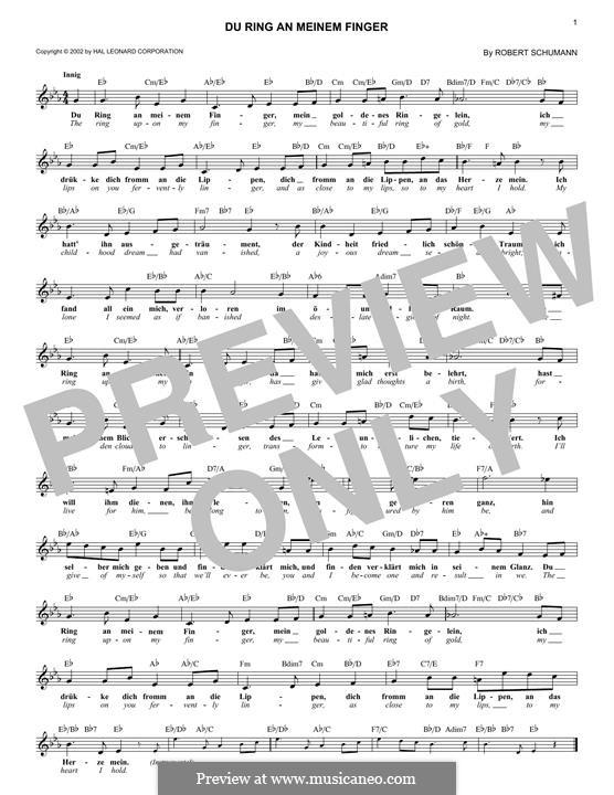 Frauenliebe und Leben, Op.42: No.4 Thou Ring upon My Finger by Robert Schumann
