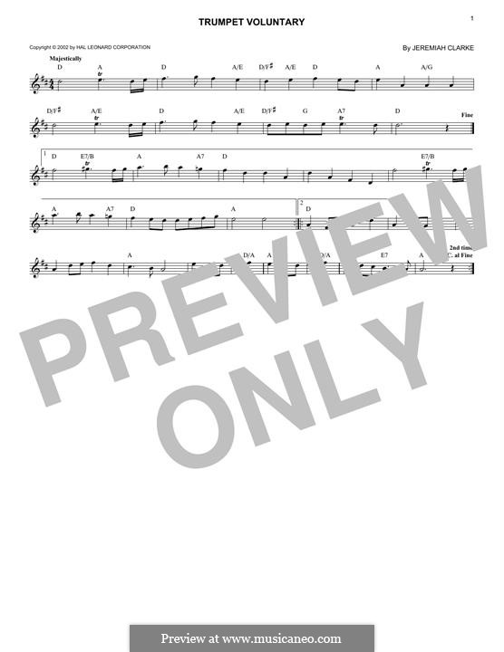 Prince of Denmark's March (Trumpet Voluntary), printable scores: Für Keyboard by Jeremiah Clarke