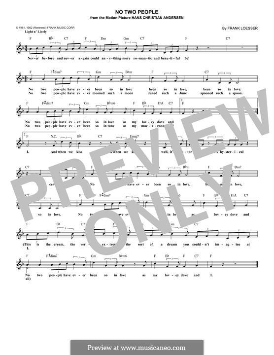 No Two People (Doris Day): Für Keyboard by Frank Loesser