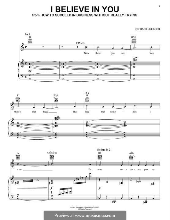 I Believe in You: Für Stimme und Klavier (oder Gitarre) by Frank Loesser