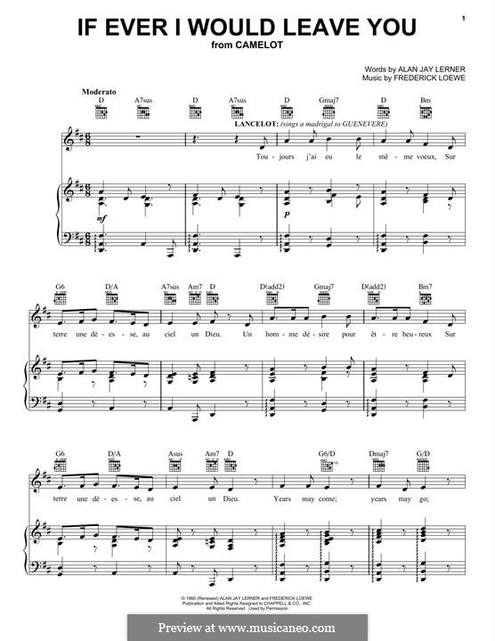 If Ever I Would Leave You (from Camelot): Für Stimme und Klavier (oder Gitarre) by Frederick Loewe