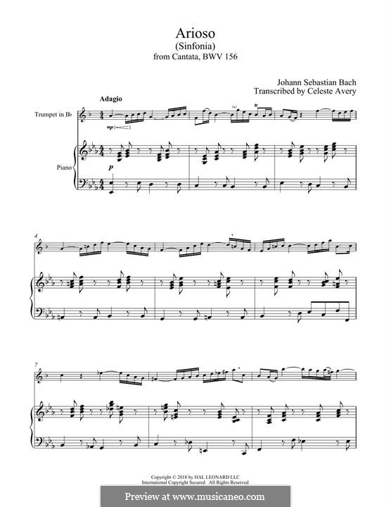 Arioso in G-Dur: For trumpet and piano by Johann Sebastian Bach