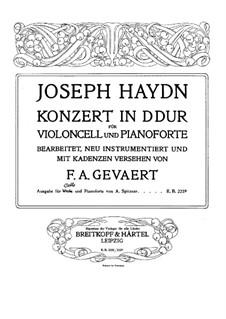 Konzert für Cello und Orchester Nr.2 in D-Dur, Hob.VIIb/2: Solostimme by Joseph Haydn