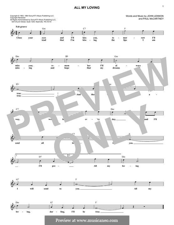 All My Loving (The Beatles): Für Keyboard by John Lennon, Paul McCartney