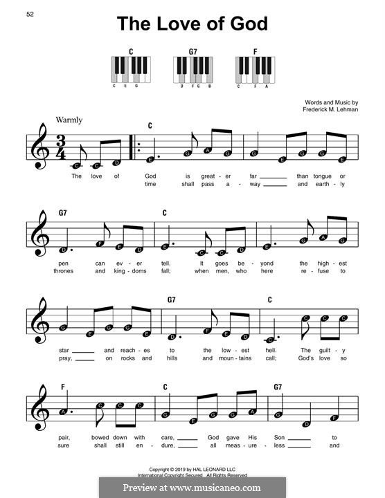 The Love of God: Für Klavier by Frederick M. Lehman