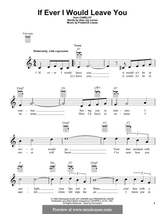 If Ever I Would Leave You (from Camelot): Für Ukulele by Frederick Loewe