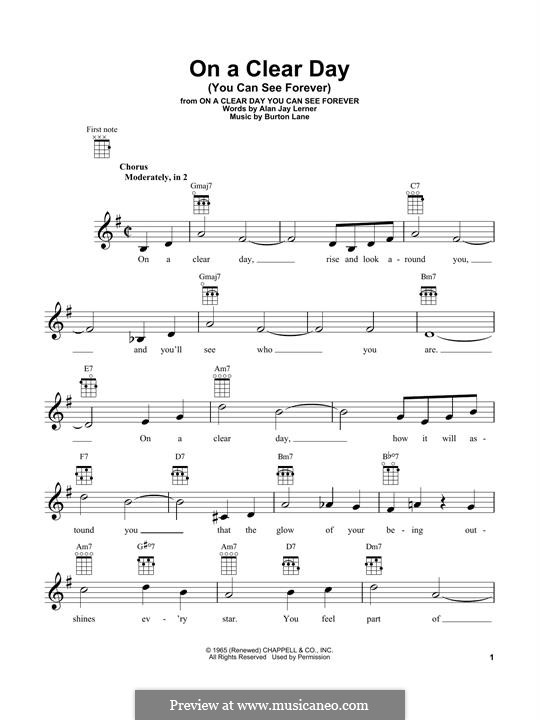 On a Clear Day (You Can See Forever): Für Ukulele by Burton Lane