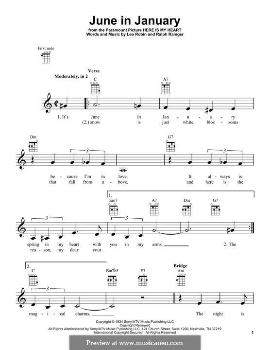 June in January: Für Ukulele by Leo Robin, Ralph Rainger