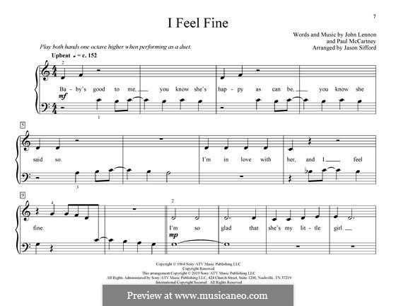 I Feel Fine (The Beatles): Für Klavier by John Lennon, Paul McCartney
