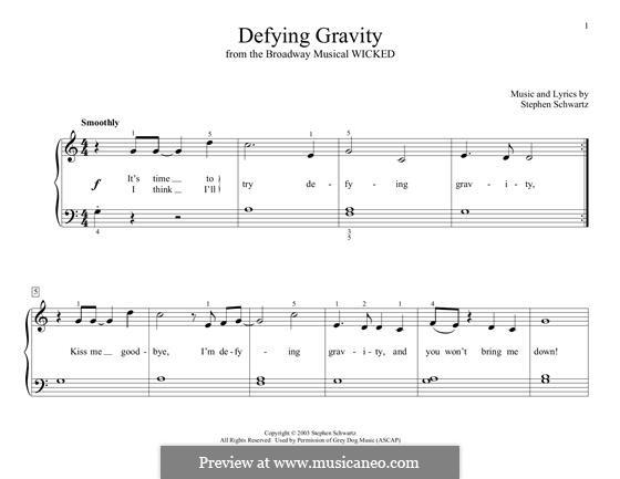 Defying Gravity (from the Broadway Musical Wicked): Für Klavier by Stephen Schwartz