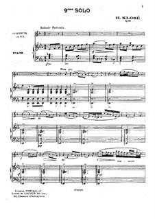Solo Nr.9 für Klarinette und Klavier, Op.25: Solo Nr.9 für Klarinette und Klavier by Hyacinthe Eléonore Klosé