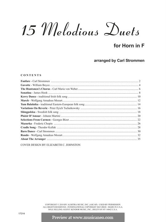 15 Melodious Duets: For two horns by William Boyce, Carl Maria von Weber, folklore, James Hook, Carl Strommen