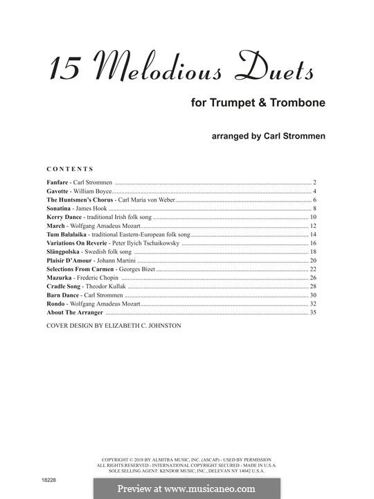 15 Melodious Duets: For trumpet and trombone by William Boyce, Carl Maria von Weber, folklore, James Hook, Carl Strommen