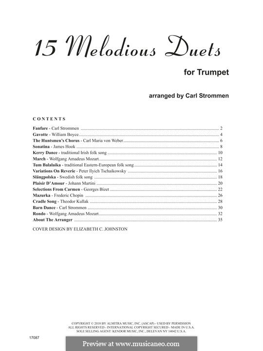 15 Melodious Duets: For two trumpets by William Boyce, Carl Maria von Weber, folklore, James Hook, Carl Strommen