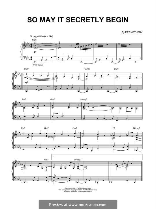 So May It Secretly Begin: Für Klavier by Pat Metheny