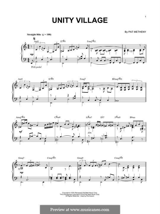 Unity Village: Für Klavier by Pat Metheny