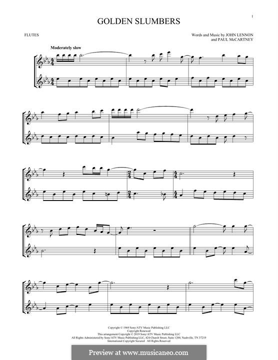 Golden Slumbers (The Beatles): Für zwei Flöten by John Lennon, Paul McCartney