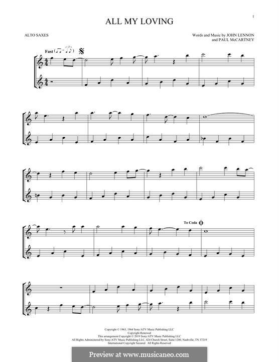 All My Loving (The Beatles): For two alto saxophone by John Lennon, Paul McCartney