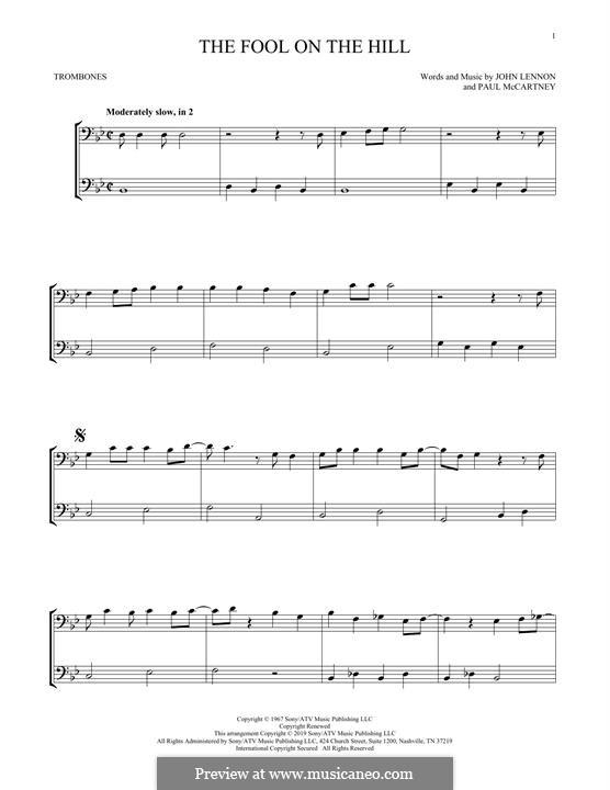 The Fool on the Hill (The Beatles): For two trombones by John Lennon, Paul McCartney