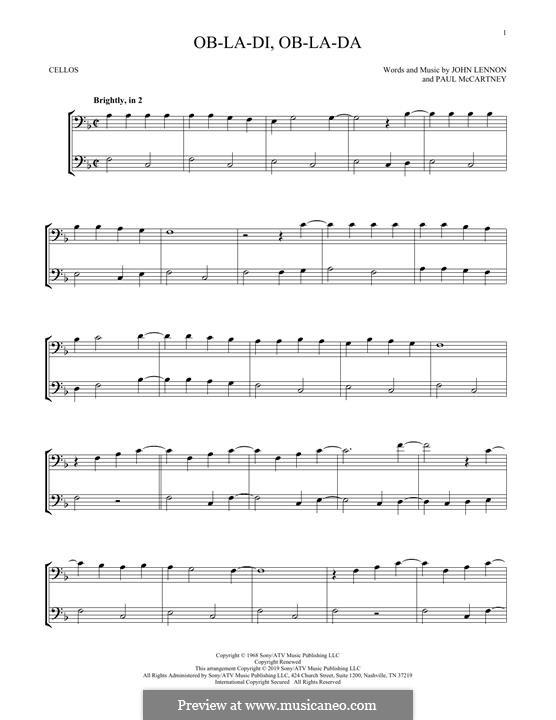 Ob-La-Di, Ob-La-Da (The Beatles): Für zwei Cellos by John Lennon, Paul McCartney