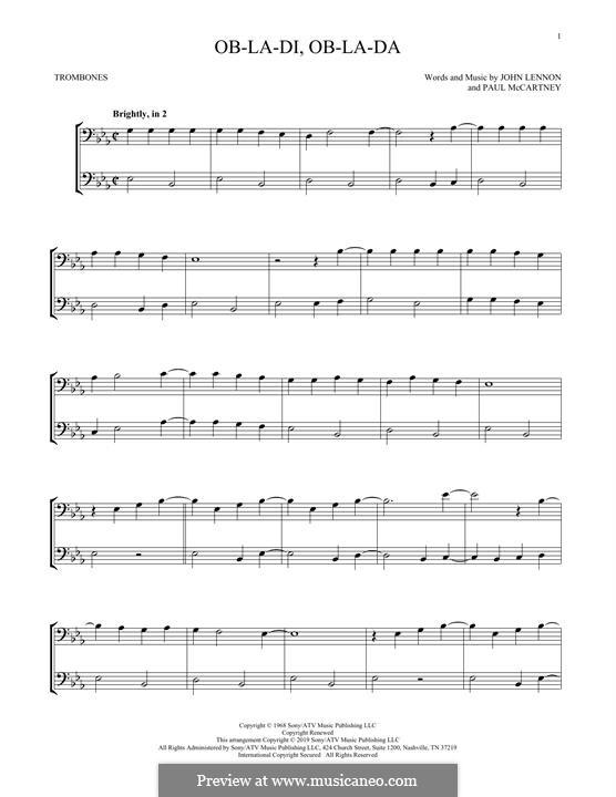 Ob-La-Di, Ob-La-Da (The Beatles): For two trombones by John Lennon, Paul McCartney