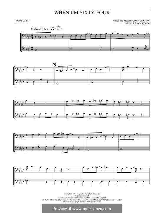 When I'm Sixty-Four (The Beatles): For two trombones by John Lennon, Paul McCartney