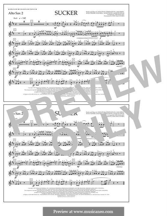 Sucker (Jonas Brothers): Alto Sax 2 part by Joseph Jonas, Kevin Jonas Sr., Nicholas Jonas, Ryan B Tedder, Louis Bell, Frank Dukes
