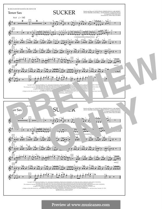 Sucker (Jonas Brothers): Tenor Sax part by Joseph Jonas, Kevin Jonas Sr., Nicholas Jonas, Ryan B Tedder, Louis Bell, Frank Dukes