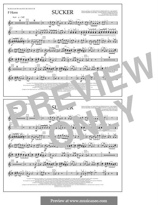 Sucker (Jonas Brothers): F Horn part by Joseph Jonas, Kevin Jonas Sr., Nicholas Jonas, Ryan B Tedder, Louis Bell, Frank Dukes