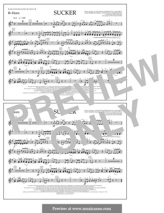 Sucker (Jonas Brothers): Bb Horn part by Joseph Jonas, Kevin Jonas Sr., Nicholas Jonas, Ryan B Tedder, Louis Bell, Frank Dukes