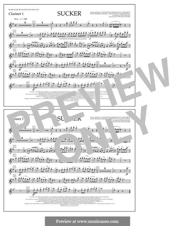 Sucker (Jonas Brothers): Clarinet 1 part by Joseph Jonas, Kevin Jonas Sr., Nicholas Jonas, Ryan B Tedder, Louis Bell, Frank Dukes