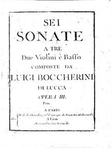 Sechs Streichtrios, Op.3: Violinstimme I, G.119-124 by Luigi Boccherini