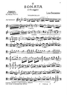 Sonate für Cello und Basso Continuo in F-Dur, G.1: Solostimme by Luigi Boccherini