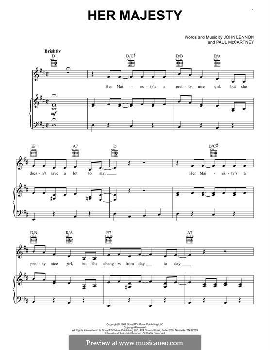 Her Majesty (The Beatles): Für Stimme und Klavier (oder Gitarre) by John Lennon, Paul McCartney